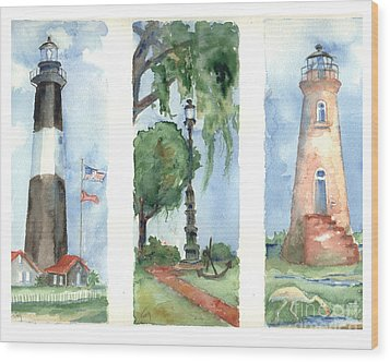 Savannah Lighthouses Wood Print by Doris Blessington