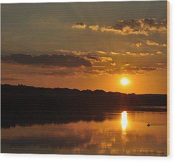 Savannah River Sunset Wood Print
