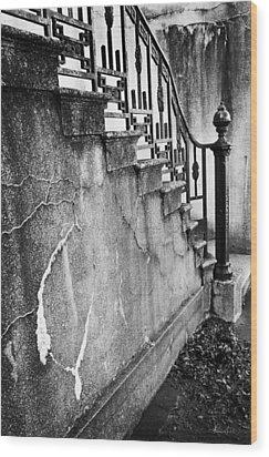 Savannah Stairway Black And White Wood Print by Renee Sullivan
