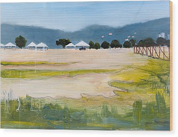 Savannah With Tents Wood Print by Mary Adam