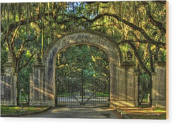 Wood Print featuring the photograph Savannah's Wormsloe Plantation Gate Live Oak Alley Art by Reid Callaway