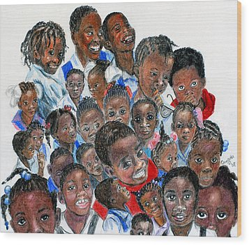 Wood Print featuring the painting Save The Children by Quwatha Valentine