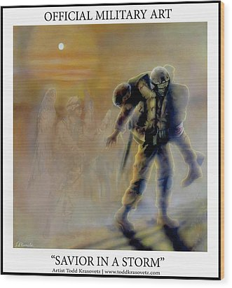Savior In A Storm Wood Print by Todd Krasovetz