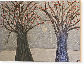 Sawsan's Trees Wood Print by Mario Perron