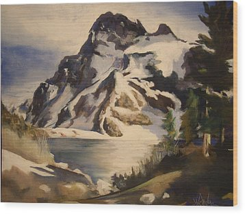 Sawtooth Mountain Lake Wood Print by Debbie Anderson