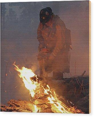 Sawyer, North Pole Fire Wood Print