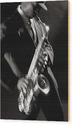 Sax Man 1 Wood Print by Tony Cordoza