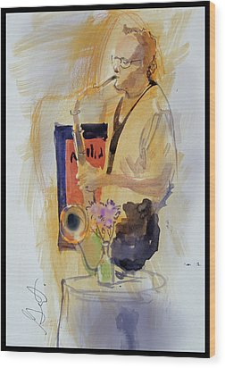 Sax Man Wood Print by Gertrude Palmer
