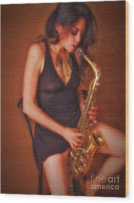 Sax Solo  ... Wood Print by Chuck Caramella