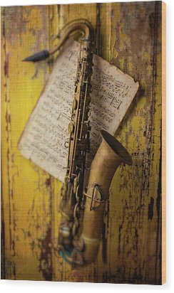 Saxophone Hanging On Old Wall Wood Print