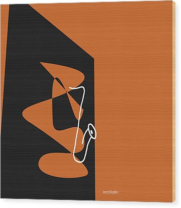 Saxophone In Orange Wood Print by David Bridburg