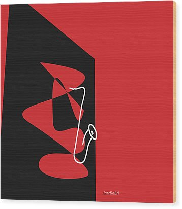 Saxophone In Red Wood Print by David Bridburg