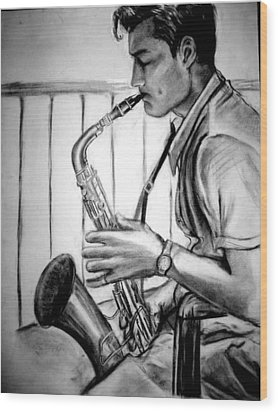 Saxophone Player Wood Print by Laura Rispoli