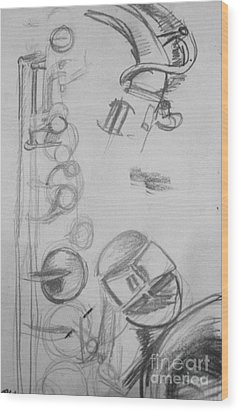 Saxophone Still Life Study Wood Print by Jamey Balester