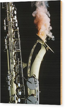 Saxophone With Smoke Wood Print by Garry Gay