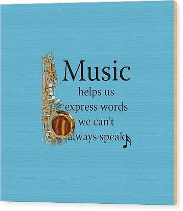 Saxophones Express Words Wood Print by M K  Miller