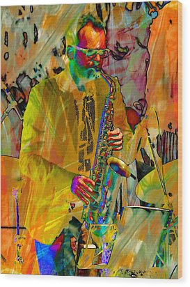 Saxophonist Wood Print by Dorothy Berry-Lound