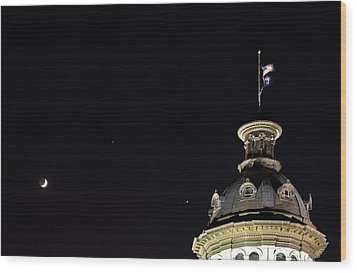 Sc State House Dome And Conjunction Wood Print by Charles Hite