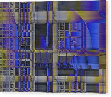 Wood Print featuring the digital art Scaffold II by Richard Ortolano