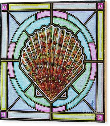Scallop Shell 1 Wood Print by Jim Harris