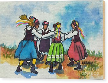 Scandinavian Dancers Wood Print