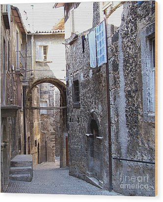 Wood Print featuring the photograph Scanno Walkway by Judy Kirouac
