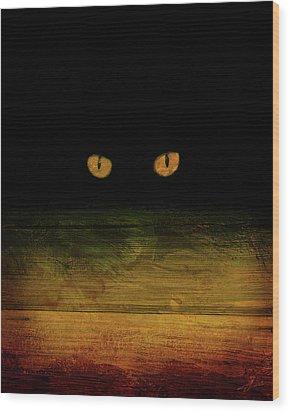 Scare-d-cat Wood Print by Shevon Johnson