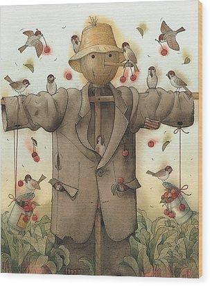Scarecrow  Wood Print by Kestutis Kasparavicius