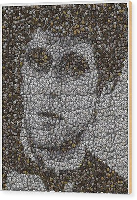 Wood Print featuring the mixed media Scarface Coins Mosaic by Paul Van Scott