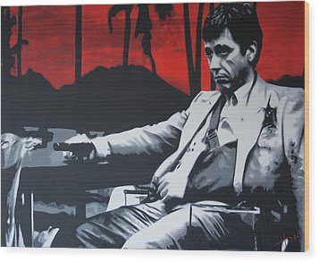 Scarface - Sunset 2013 Wood Print by Luis Ludzska