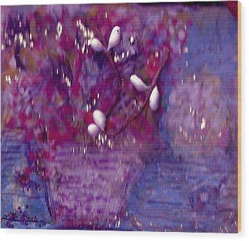 Scarlet  And Blue  For True Wood Print by Anne-Elizabeth Whiteway
