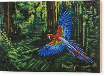 Scarlet Macaw In The Forest Wood Print by Laurie Tietjen