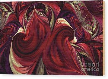 Wood Print featuring the digital art Scarlet Red by Deborah Benoit