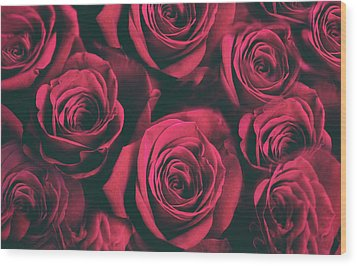 Wood Print featuring the photograph Scarlet Roses by Jessica Jenney