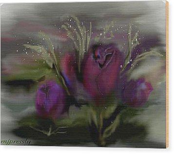Scarlet Roses Wood Print by June Pressly