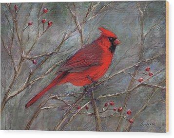 Scarlet Sentinel Wood Print by Vikki Bouffard
