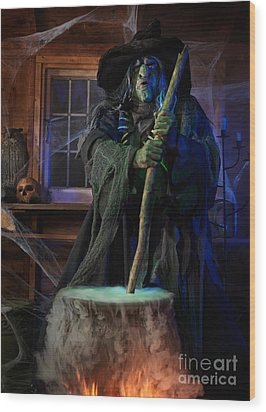 Scary Old Witch With A Cauldron Wood Print by Oleksiy Maksymenko