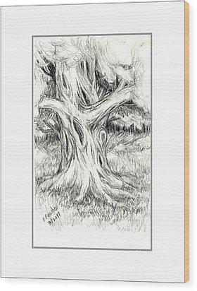 Scary Tree Wood Print by Ruth Renshaw
