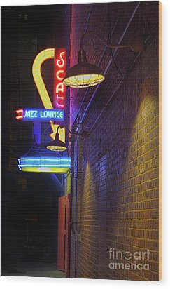 Wood Print featuring the photograph Scat Jazz Lounge 2 by Elena Nosyreva