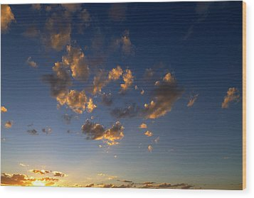 Scattered Clouds At Sunset Wood Print by Paul Cutright