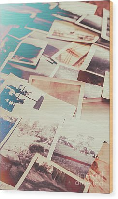 Scattered Collage Of Old Film Photography Wood Print