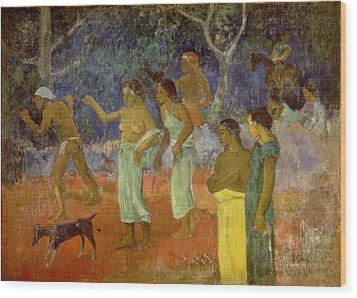 Scene From Tahitian Life Wood Print by Paul Gauguin