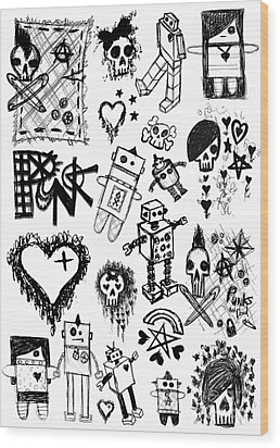Scene Kid Sketches Wood Print by Roseanne Jones