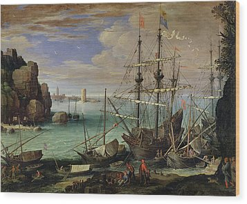 Scene Of A Sea Port Wood Print by Paul Bril