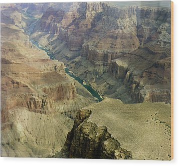 Scenic Grand Canyhon And Colorado River Wood Print by M K  Miller