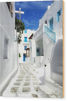 Scenic Mykonos Wood Print by HD Connelly