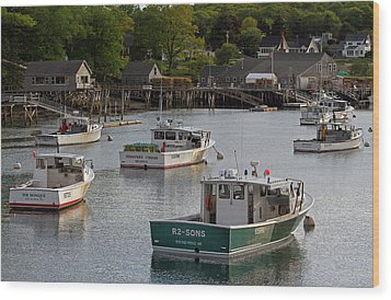 Scenic New Harbor Maine Wood Print by Juergen Roth