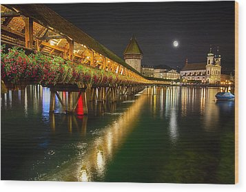 Scenic Night View Of The Chapel Bridge In Old Town Lucerne Wood Print by George Oze