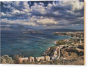 Scenic View Of Eastern Crete Wood Print