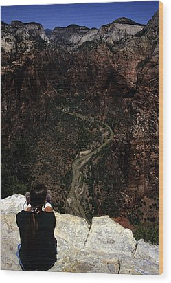 Scenic View Of Zion National Park Wood Print by Stacy Gold